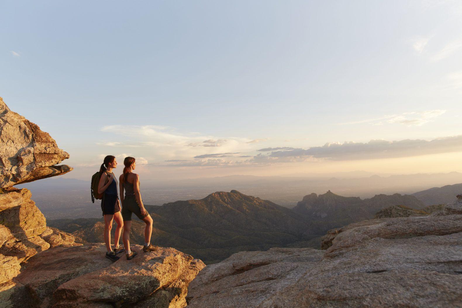 two-females-hiking-sunset-canyon-ranch-wellness-resort-tucson-arizona-usa