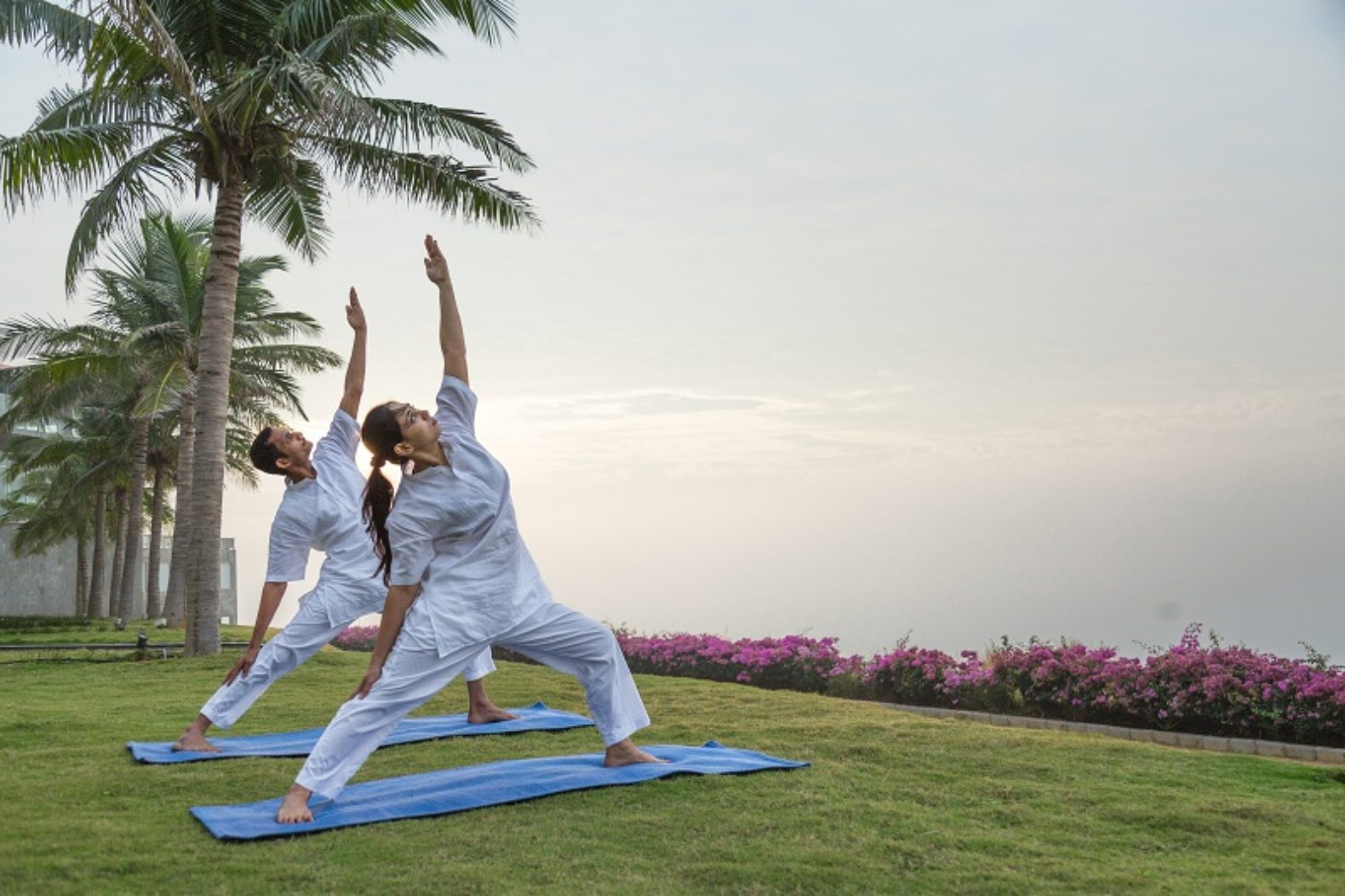 people-yoga-class-outside-grass-palmtrees-pema-health-healing-resort-india-hotel